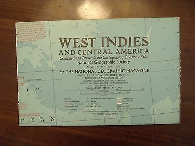National Geographic Map West Indies & Central America January 1970