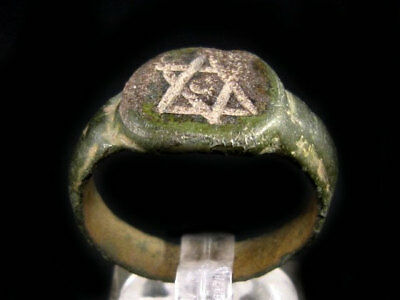 Extremely Rare, Medieval Period, Jewish Bronze Ring, *star Of David*+++