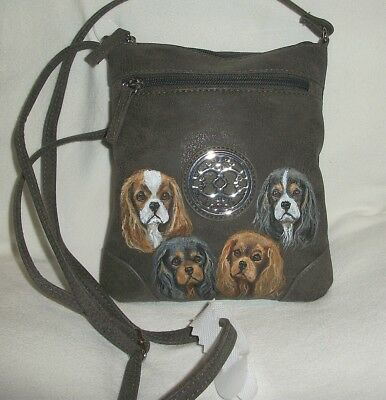 Hand Painted Cavalier King Charles Brown leather like cross body  purse