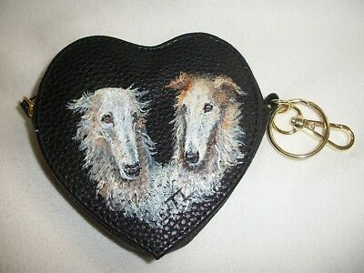 Hand Painted Borzoi Russian wolfhound Black Heart shaped coin purse