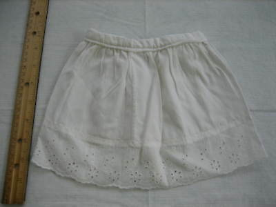 Vintage Baby Toddler White Cotton Skirt, Eyelet Hem, Snap Closure