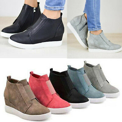 29244cd072f Women Hidden Wedge Mid Heel Ankle Boots Sneakers Trainers High Top Shoes  Size 10