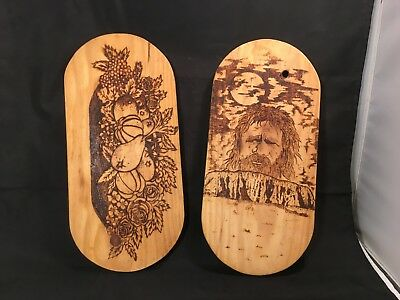 Burnt Wood Carvings – 2 Pieces – Made in Australia (WC-1901)