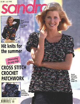 "SANDRA Knitting Mag - July 1996 - ""Hit knits for the summer"" + Cross Stitch+More"