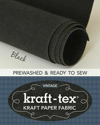 Kraft-tex Roll Black Prewashed Paper Fabric- 19in wide