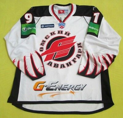 Original 2010/11 KHL Avangard GAME WORN Jersey #91/Patches-Fight Strap/Russia