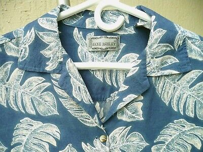 Vtg 90S Jane Ashley Sz M Fern Palm Chambray Leaf Blue Floral Shirt Blouse Women