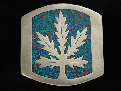 OE21151 COOL VINTAGE 1970s **MARIJUANA LEAF** SOUTHWESTERN DESIGN BELT BUCKLE