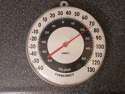 "Vintage Ohio Jumbo Dial Thermometer 12"" Outdoor Metal Made in USA Barn Rustic"
