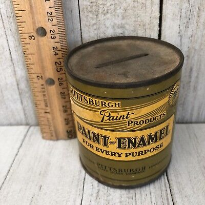 Pittsburgh Paint Bank Miniature Can Paper Label Vintage c 1920s