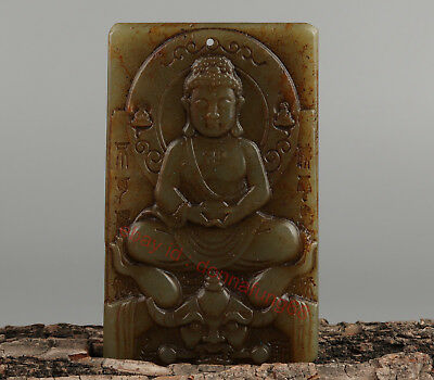 Chinese Exquisite Hand-carved Buddha beast Carving Hetian jade Pendant