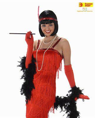 a42127a1c32 Ladies 20s Red Flapper Dress w Gloves Headband Costume Charleston Gatsby  1920s