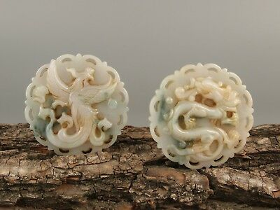 Chinese Exquisite Hand carved Dragon phoenix Carving jadeite Jade Pendant a pair