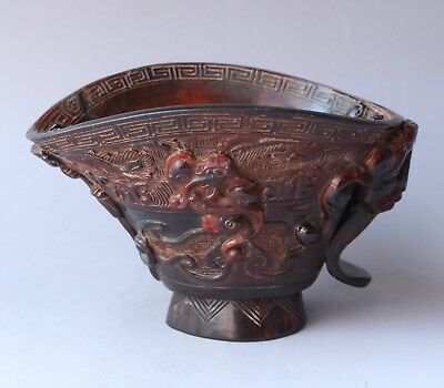Chinese Exquisite Hand carved mythology beast pattern Ox Horn cup statue