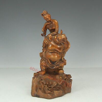 Chinese Exquisite Hand-carved mythology figure Carving Boxwood statue