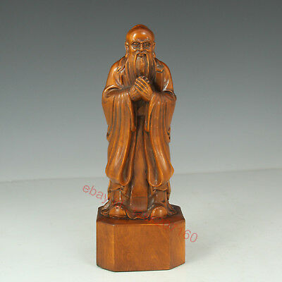 Chinese Exquisite Hand-carved Ancient characters Carving Boxwood statue