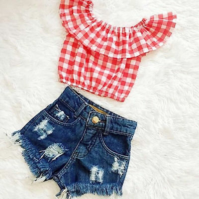 AU Stock Newborn Infant Baby Girl Plaid & Check Tops+Jeans Denim Shorts Outfit