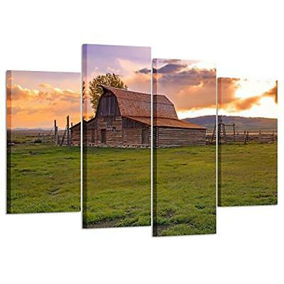 Vintage Barn In Rural Wyoming Canvas Prints Wall Art Paintings Picture Framed