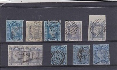STAMPS..Australia,,New South Wales,, 1851-55.. two pence x 10 ,