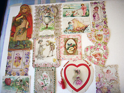 Lot of 14 Antique Germany Valentine Postcards Ephemera