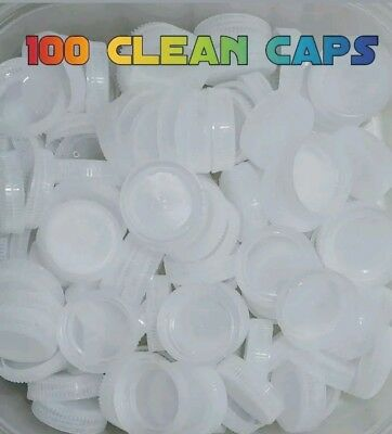 Water Bottle Plastic Screw Caps Clear White Craft Supplies Lot Of 100 plus