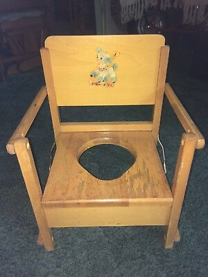 Rare Vintage Wooden Child's Potty Chair W/Lamb Design OLD!