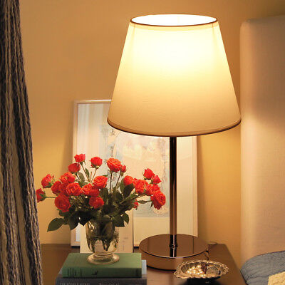 Bedside Table Lamp Fabric Shade Lamp Desk Light Bedroom Living Room Hotel Resort