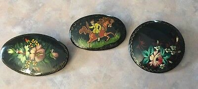 Lot 3 Russian Small Hand-painted Lacquer Brooches Pins Signed