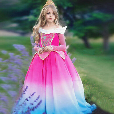 be95257ebf1b0 SLEEPING BEAUTY PRINCESS Dress Aurora Costume Gown Cosplay Party for Kids  Girls