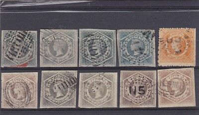 STAMPS..Australia..New South Wales ,, 1854-59  imperfs x 9 , & eight p , perfs