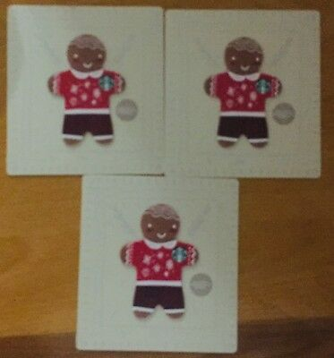 "Lot 3 Starbucks ""GINGERBREAD MAN"" CHRISTMAS 2018 gift card set NEW"