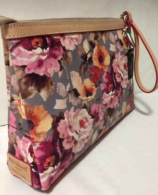 NWT Cavalcanti Italy Leather Floral Wristlet Cosmetic Makeup Bag Clutch  Large f623f4e2bf7eb