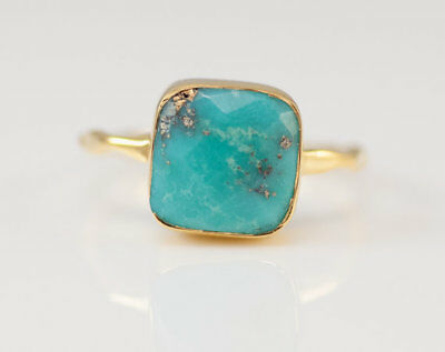 Antique Turquoise Wedding Engagement 18K Yellow Gold Filled Ring Vintage Jewelry