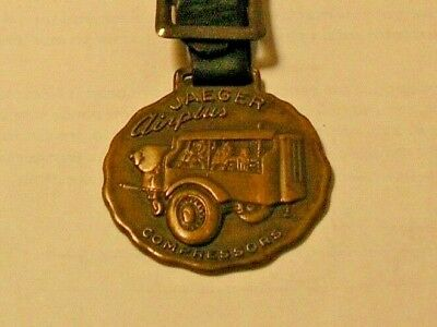 Vintage Adv. Jaeger Machinery Company Airplus Compressors Watch Fob With Strap