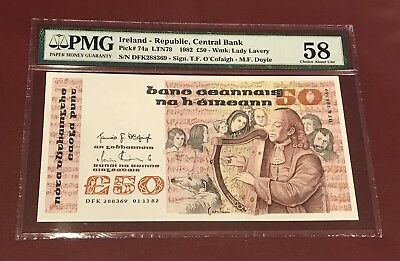 REPUBLIC CENTRAL BANK OF IRELAND  50 POUNDS 1982 ABOUT UNC PMG 58 PICK 74a RARE