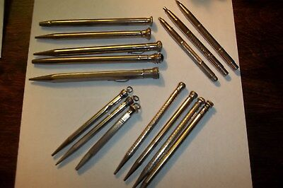 Antique/vintage Mechanical Pencils Mixed Lot Of 15- Use, Repair, Parts