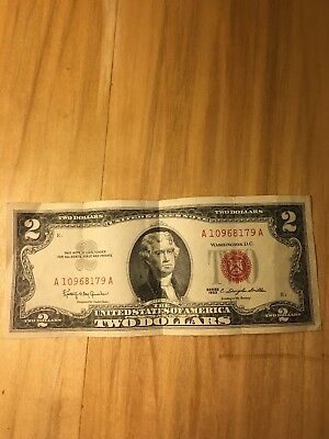 1963 Two Dollar Bill $2 Red Seal Note Uncirculated AU