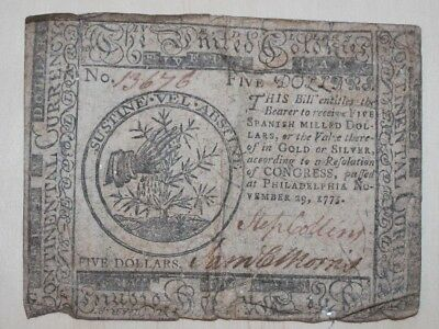 Nov 1775 Philadelphia Five Dollars Continental Currency Paper Money Morris RARE