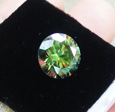 9mm. 2.65Ct. 100% REAL MOISSANITE ROUND BRILLIANT CUT TOP Quality Fancy Color!