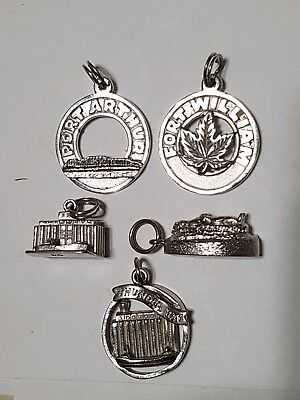 Vintage Sterling Silver THUNDER BAY PORT ARTHUR FORT WILLIAM CHARM LOT 18g .925