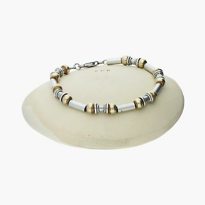 "goodbyebabylon / sterling silver gold accent bead & bar / bracelet 7"" (11.7g)"