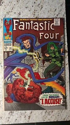 Fantastic Four #65 1st Ronan the Accuser Bright Pages/Sharp Cover Mid Grade 🔑🔥