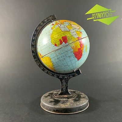 "VINTAGE c.1930's 'RELIABLE SERIES"" TIN-PLATE LITHO WORLD GLOBE RETRO INDUSTRIAL"