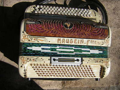 BEL ACCORDEON BOUTONS ANCIEN MAUGEIN ET FRERES brillant coloré rare