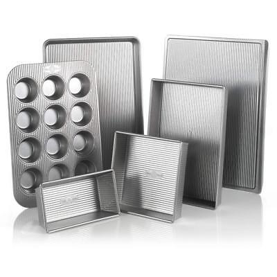 USA Pan Bakeware Aluminized Steel 6 Piece Set, Cookie Sheet, Half Loaf Pan,...