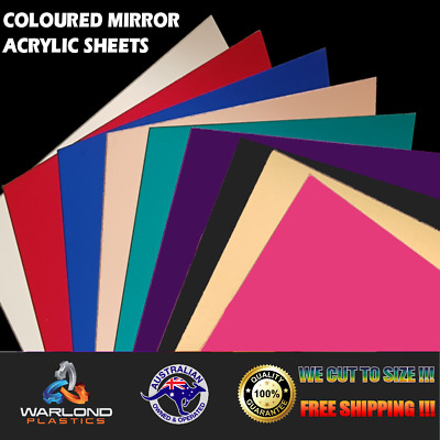 Coloured Perspex Mirror Acrylic Sheets -Select Panel Sizes - Free Shipping!