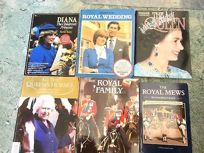 Bulk 6 Books On The Royal Family, The Queen, Diana, Royal Wedding, Queens Horse