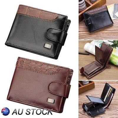 Mens Folding Leather Wallet RFID SAFE Contactless Card Blocking ID Protection AU
