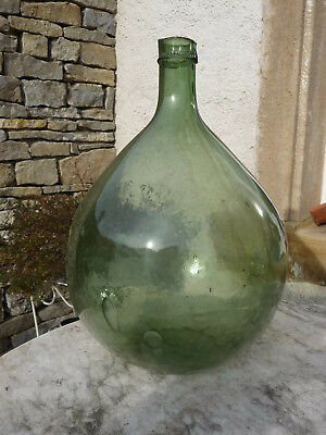 molded-blown  french antique green glass demijohn carboy