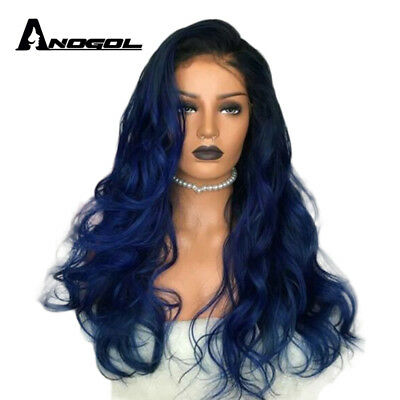 Anogol Synthetic Lace Front Wig Body Wave Wavy Black Ombre Dark Blue Hair Wigs